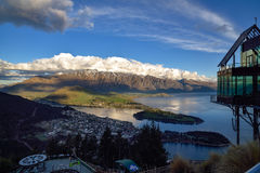 Cityscape, sunset of queenstown with lake Wakatipu from the skyl Stock Image
