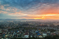 Cityscape, sunset Stock Images