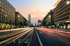 Cityscape at Sunset, Milan, Italy. Cityscape at sunset with traffic and buildings of the finantial district Stock Image