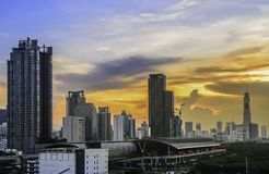 Cityscape of sunset Royalty Free Stock Photography