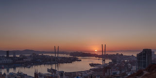 Cityscape, sunset view. Stock Photo