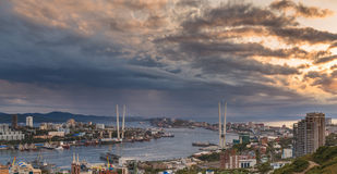 Cityscape, sunset view. Royalty Free Stock Images