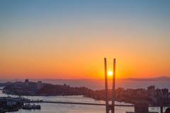 Cityscape, sunset. Stock Photo