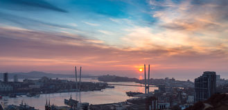 Cityscape at sunset. Royalty Free Stock Photos