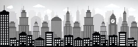 Cityscape (svart & vit) Arkivfoton