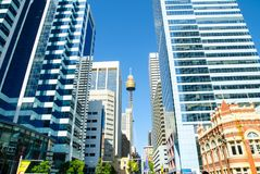 Cityscape of Sydney Downtown with Centrepoint or Westfield Centrepoint Tower at the image`s center. royalty free stock image