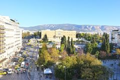 Cityscape of Syntagma in Athens Greece and the greek parliament Royalty Free Stock Photography