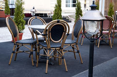 Table and chairs in the outdoor restaurant Stock Photography