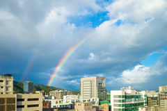 Cityscape of Taipei city with the rainbow Royalty Free Stock Images