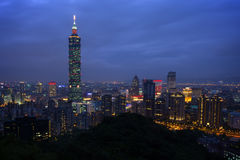 Cityscape of Taipei in nightfall Stock Image
