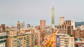 Cityscape of Taipei with Taipei 101 Stock Photography