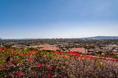 Cityscape. Taken from Hilltop Park Signal Hill California. A Beautiful Cityscape View of Long Beach, Catalina Island, San Pedro and Pacific Ocean Stock Photos