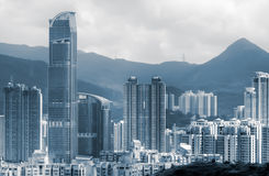 Cityscape of tall apartments and houses Stock Images