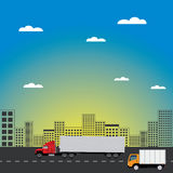 Cityscape with tall buildings and road transport. Vector flat illustration, EPS 10 Stock Photography