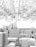 Cityscape with tall skyscrapers and wireframe. White digital cityscape with tall skyscrapers and abstract wire-frame structure in the sky, 3d illustration Royalty Free Stock Image