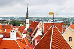 Cityscape of Tallinn with Holy Spirit Church tower and rooster vane, Tallinn, Estonia. Baltic countries royalty free stock photography