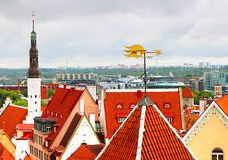 Cityscape of Tallinn with Holy Spirit Church tower and rooster vane, Tallinn, Estonia. Baltic countries stock photography