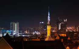 Cityscape of Tallinn at night, old and new buildings Stock Photography