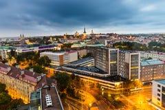 Cityscape Tallinn by night stock photo