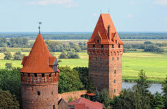 Cityscape of Tangermunde (Saxony-Anhalt, Germany). With brick stone jail tower. background elbe river Stock Photography