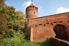 Cityscape of Tangermunde (Saxony-Anhalt, Germany). With its old brick stone jail tower Stock Images