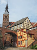 Cityscape of Tangermunde (Saxony-Anhalt, Germany) with St.-Steph. Anskirche church and half-timbered houses Stock Photos
