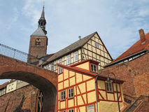 Cityscape of Tangermunde (Saxony-Anhalt, Germany). With St.-Stephanskirche church and half-timbered houses Stock Image