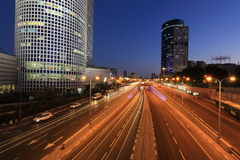Cityscape. Tel Aviv in the night,  Israel Royalty Free Stock Photography