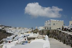 cityscape of Thira in Santorini island stock photo
