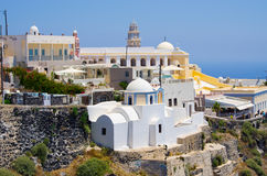 Cityscape of Thira in Santorini island, Greece Royalty Free Stock Images