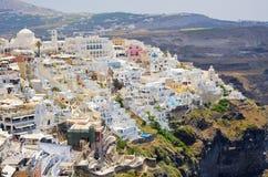 Cityscape of Thira in Santorini island, Greece Stock Photos