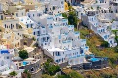 Cityscape of Thira in Santorini island, Greece Stock Image