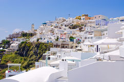 Cityscape of Thira in Santorini island, Greece Stock Photos