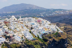 Cityscape of Thira in Santorini island, Greece Stock Image