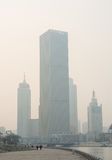 Cityscape of Tianjin city at Haihe river zone with air pollution Stock Photos