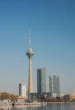 Cityscape of Tianjin city with TV tower.This tower is the modern Royalty Free Stock Image