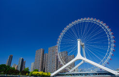 Cityscape of Tianjin ferris wheel,Tianjin eye in daytime. Stock Photo