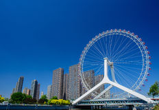 Cityscape of Tianjin ferris wheel,Tianjin eye in daytime. Stock Images