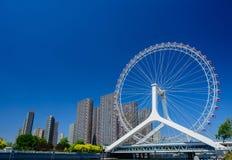 Cityscape of Tianjin ferris wheel,Tianjin eye in daytime. Stock Images