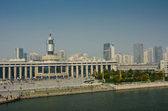 Cityscape of Tianjin railway station  with blue sky background. Royalty Free Stock Photos