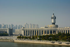 Cityscape of Tianjin railway station  with blue sky background. Stock Image