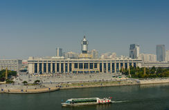 Cityscape of Tianjin railway station  with blue sky background a Royalty Free Stock Image