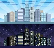 Cityscape tileable border day and night Stock Photography