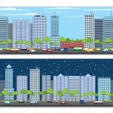 Cityscape tileable border. Modern urban building on street cityscape skyline tileable borders set isolated vector illustration Royalty Free Stock Photography