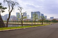 Cityscape of Tokyo with autumnal park Royalty Free Stock Photography