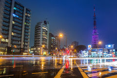 Cityscape of Tokyo with traffic lights and illuminated Tokyo tower Royalty Free Stock Photo