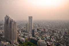 Cityscape of Tokyo, the view from free observator of Tokyo Metro Stock Photo