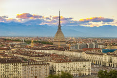 Cityscape of Torino Turin, Italy at dusk with colorful sky Stock Photos