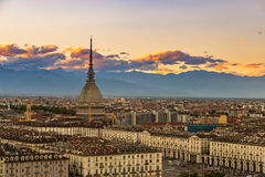 Cityscape of Torino Turin, Italy at dusk with colorful sky Royalty Free Stock Photo
