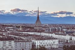 Cityscape of Torino Turin, Italy at dusk with colorful sky Stock Images